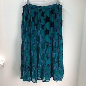 Maeve Velvet Star Rint Midi Skirt Size L